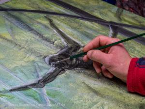 Nass in Nass Technik mit Acrylfarben - Helle Bereiche