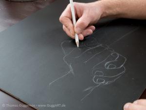 Hände malen mit Acryl - Die Skizze
