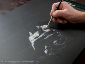 Hände malen mit Acryl - Helle Bereiche