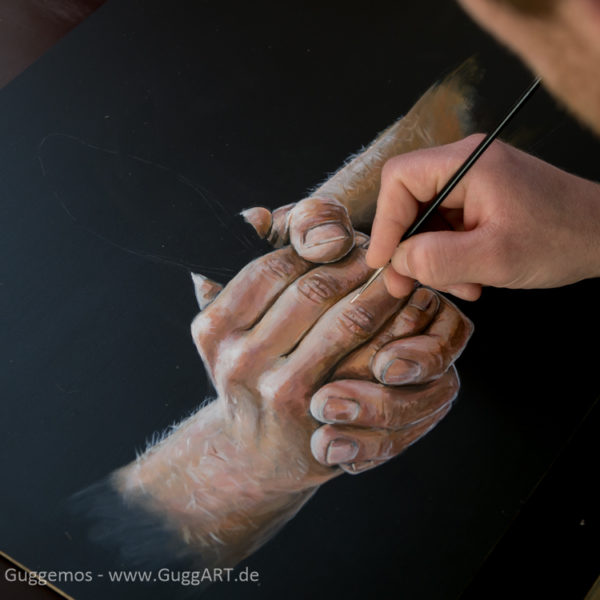 Hände malen mit Acryl - Details werden gemalt