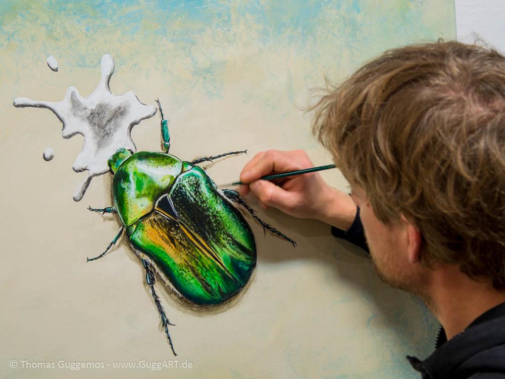Schimmernder Käfer mit Acryl malen - Details entstehen