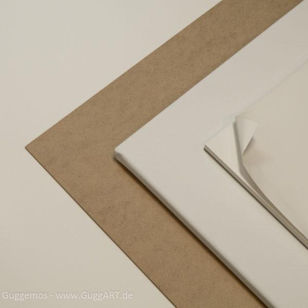Hartfaserplatte, Leinwand, Papier