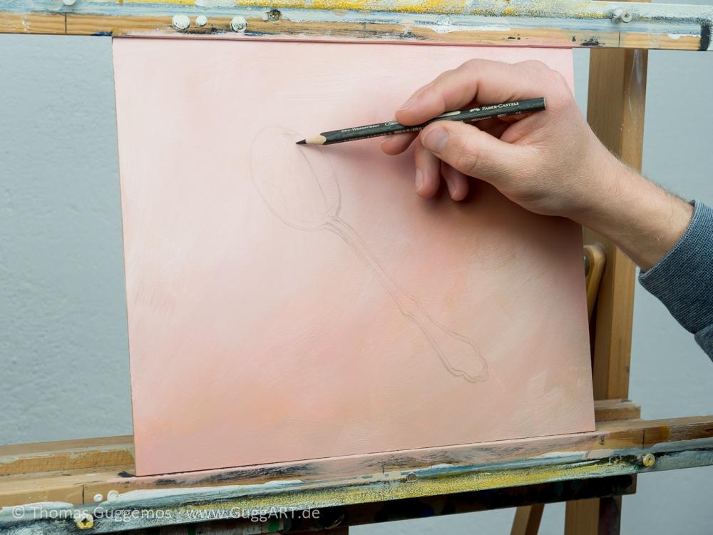 Löffel malen mit Acryl - Die Skizze