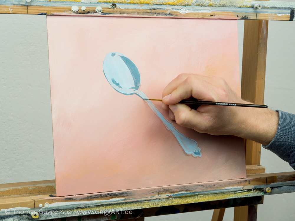 Löffel malen mit Acryl - Zwei Farbbereiche