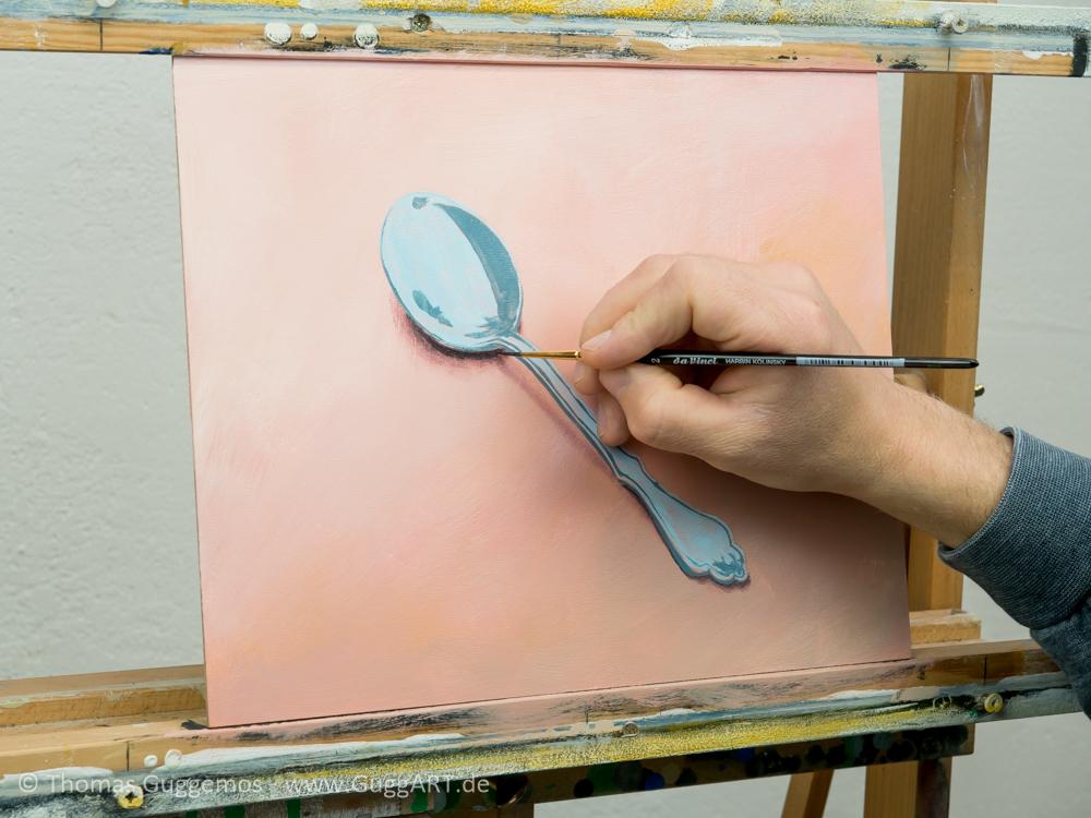 Löffel malen mit Acryl - Der Schatten
