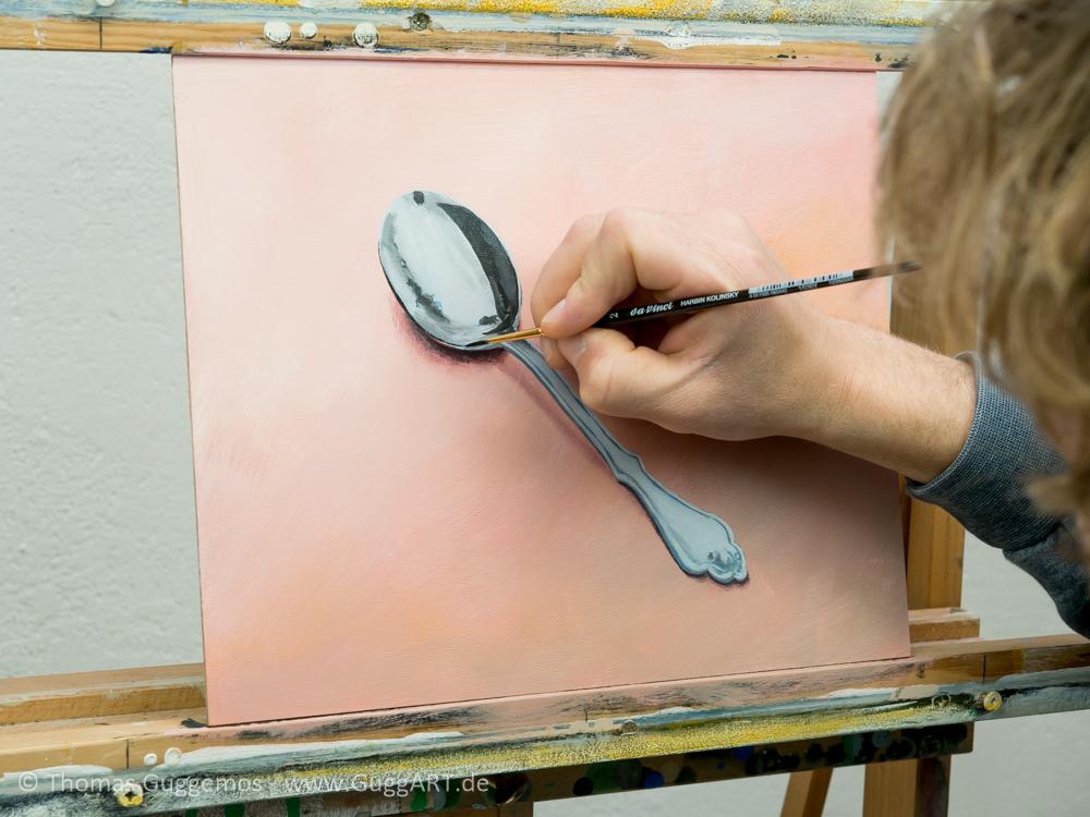Löffel malen mit Acryl - Die dunklen Bereiche
