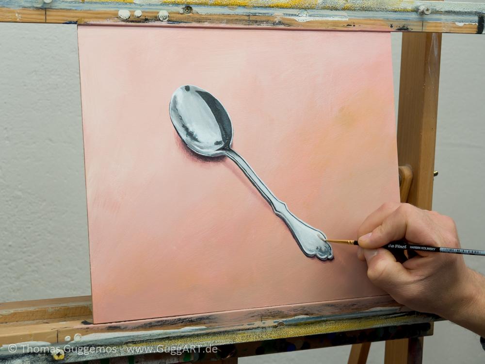 Löffel malen mit Acryl - Die Glanzlichter