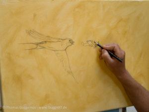 Vogel und Flugzeug malen - Die Skizze