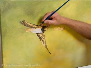 Vogel und Flugzeug malen - Farbbereiche der Schwalbe