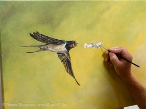 Vogel und Flugzeug malen - Flugzeug wird weiß grundiert