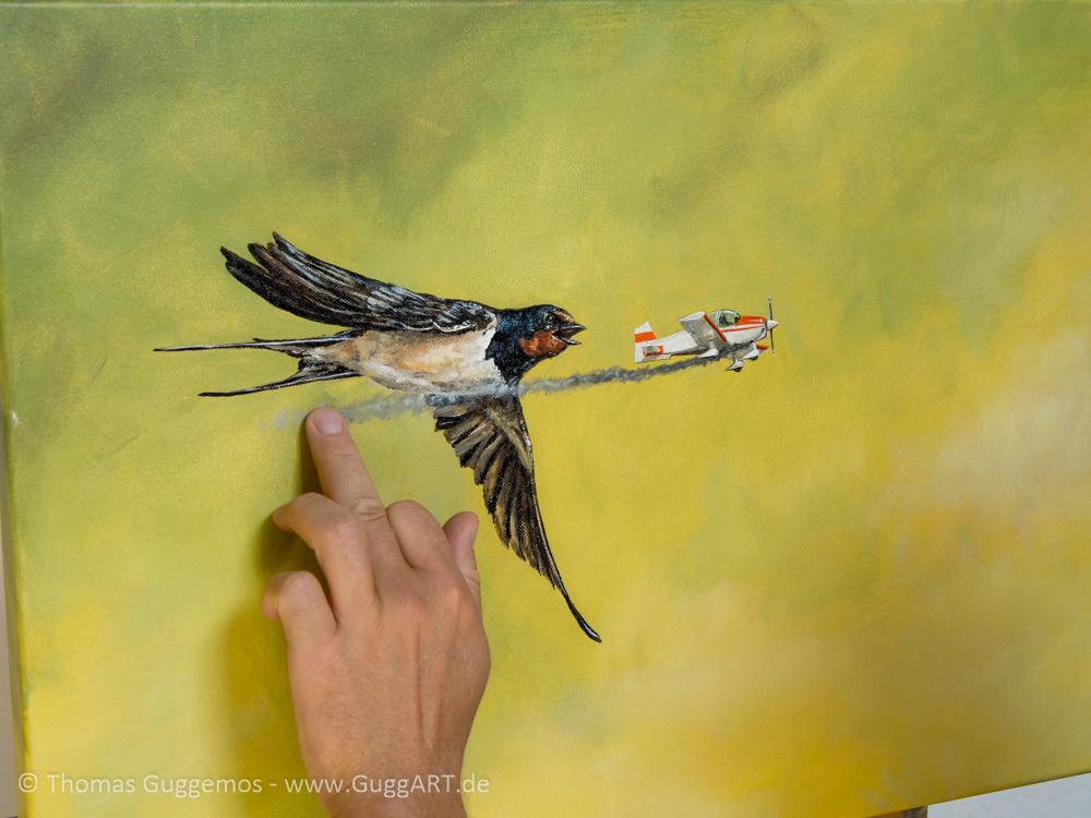 Vogel und Flugzeug malen - Die Rauchspur