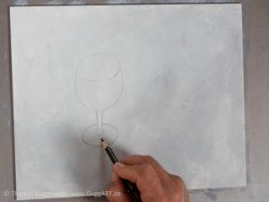 Weinglas malen mit Acrylfarbe - Die Skizze aufmalen