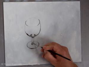 Weinglas malen mit Acrylfarbe - Die dunkelsten Berieche malen