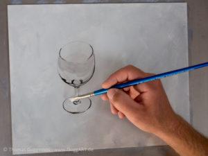 Weinglas malen mit Acrylfarbe - Mitteltöne malen