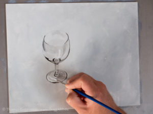 Weinglas malen mit Acrylfarbe - Glanzlichter und Highlights herausarbeiten