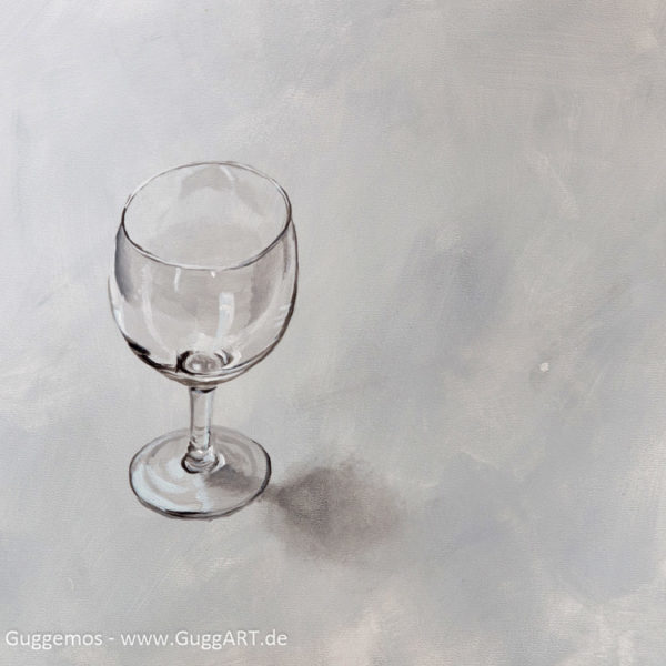 Weinglas malen mit Acrylfarbe - realistisch malen mit Acryl