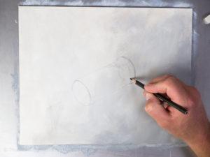 Glas malen mit Acrylfarbe - Die Skizze