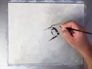 Glas malen mit Acrylfarbe - Die dunkelsten Bereiche