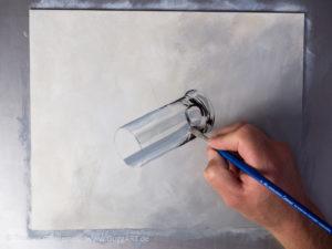 Glas malen mit Acrylfarbe - Die Mitteltöne