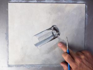 Glas malen mit Acrylfarbe - Der Schatten