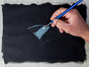 Glasscherbe malen mit Acryl - Grün-Blaue Färbung