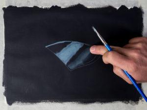 Glasscherbe malen mit Acryl - Die Mitteltöne
