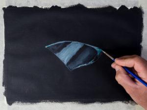 Glasscherbe malen mit Acryl - Die Bruchkante