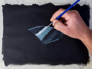 Glasscherbe malen mit Acryl - Die Glanzlichter
