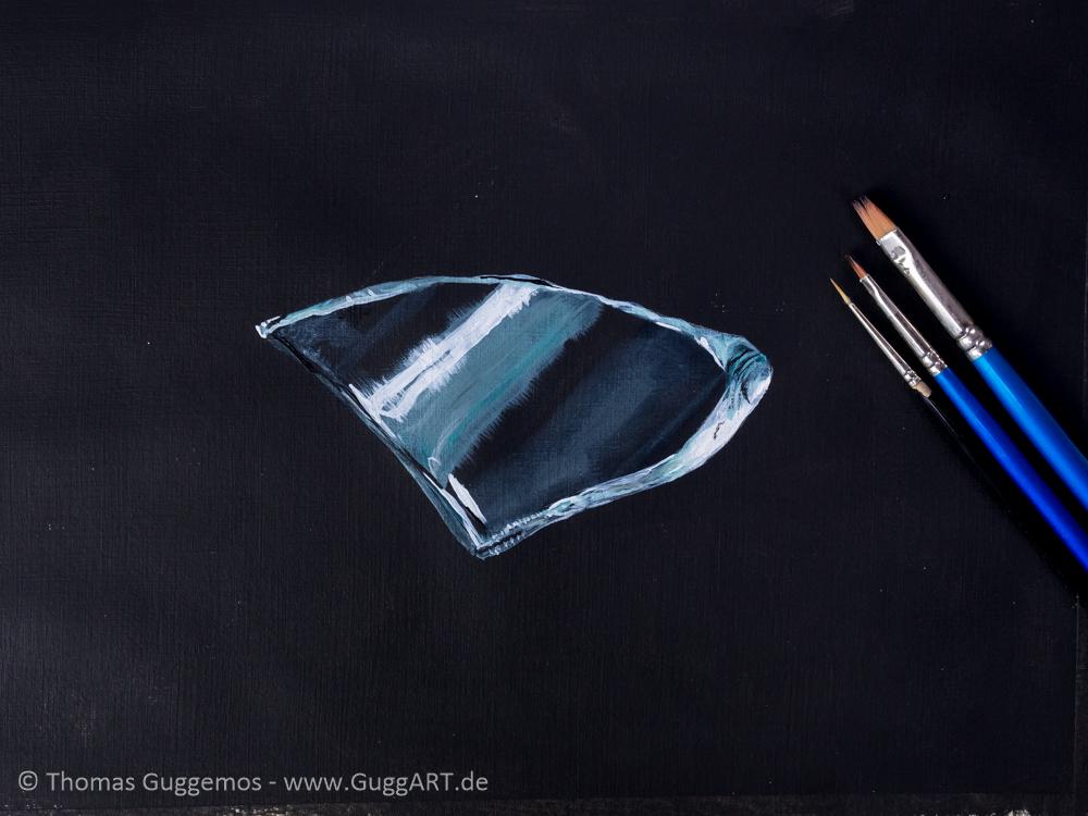 Glasscherbe malen mit Acryl - Realistisch malen