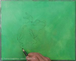 Frosch malen mit Acryl - Die Skizze