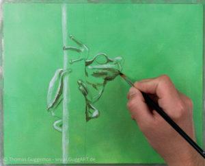 Frosch malen mit Acryl - Schwarz und Weiß