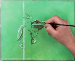 Frosch malen mit Acryl - Die Augen