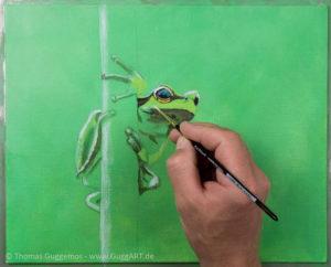 Frosch malen mit Acryl - Die Haut