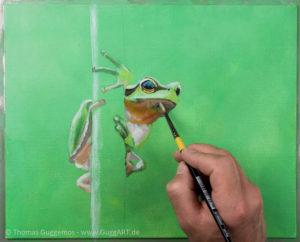 Frosch malen mit Acryl - Die Unterseite
