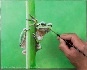 Frosch malen mit Acryl - Die Details