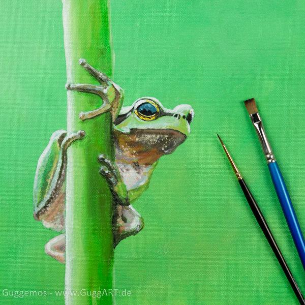 Frosch malen mit Acrylfarbe