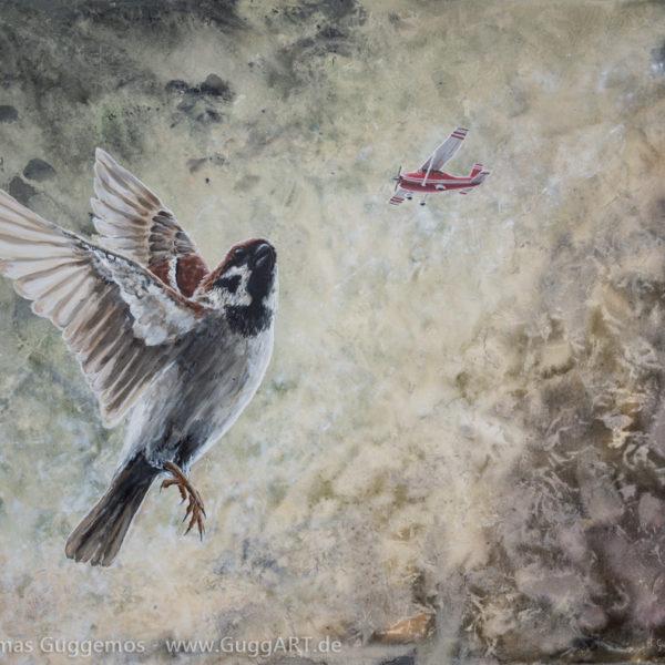 FEDERN LASSEN - Acrylmalerei auf Leinwand 100x80cm (acrylics on canvas) - Thomas Guggemos