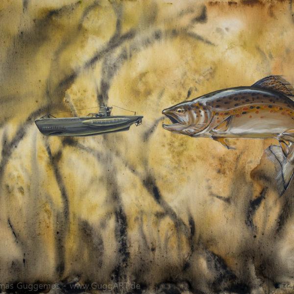 Tauchgangverlängerung - Acrylmalerei auf Leinwand 100x80cm (acrylics on canvas) - Thomas Guggemos