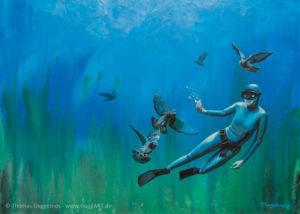 Tiefflug - Acrylmalerei auf Leinwand 50x70cm (acrylics on canvas) - Thomas Guggemos