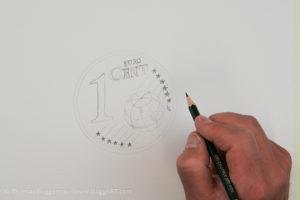 Geld malen mit Acryl - Skizze
