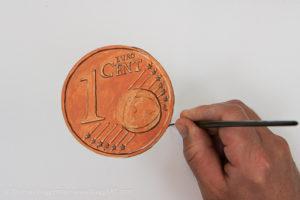 Geld malen mit Acryl - Grundfarbe