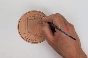 Geld malen mit Acryl - Bereiche hervorheben