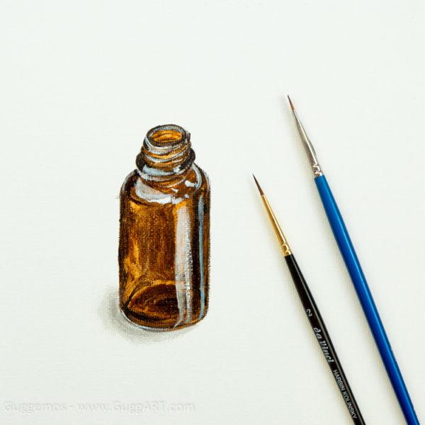 Glasflasche Acrylmalerei