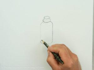 Glasflasche malen mit Acryl - Die Skizze