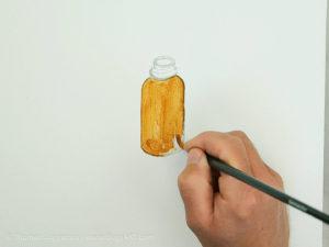 Glasflasche malen mit Acryl - Die erste Farbschicht