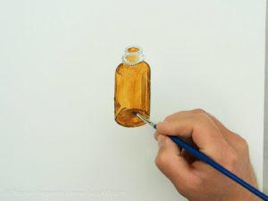 Glasflasche malen mit Acryl - Die dunklen Bereiche