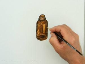 Glasflasche malen mit Acryl - Die Farbe des Glases