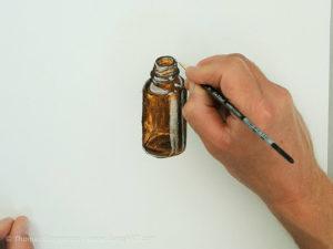 Glasflasche malen mit Acryl - Die Glanzlichter