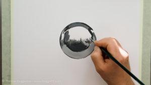 Metallkugel malen - Grautöne werden immer heller