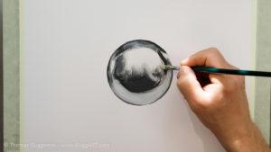 Metallkugel malen - Helles Grau um die Lichtreflexionen